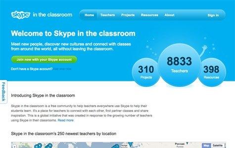 Öğretmenler için bilgi paylaşım merkezi  'Skype In The Classroom'
