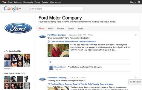 Ford, Google+'taki ilk büyük marka oldu