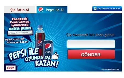 Pepsi Kapak Altı Kodları, Sosyal Oyun Puanları Veriyor