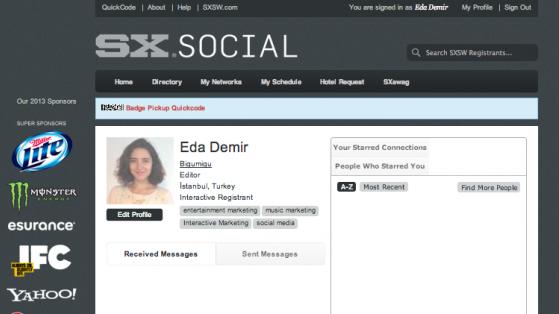 Eda'nın SXSW Programı