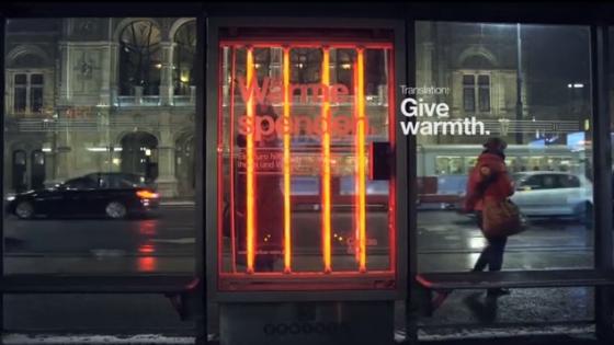 Evsizler İçin Isı Veren Reklam Panoları