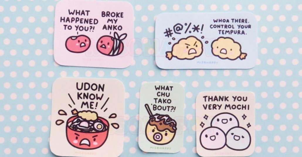 Japon Yemeklerinden Kelime Oyunlu Çıkartmalar