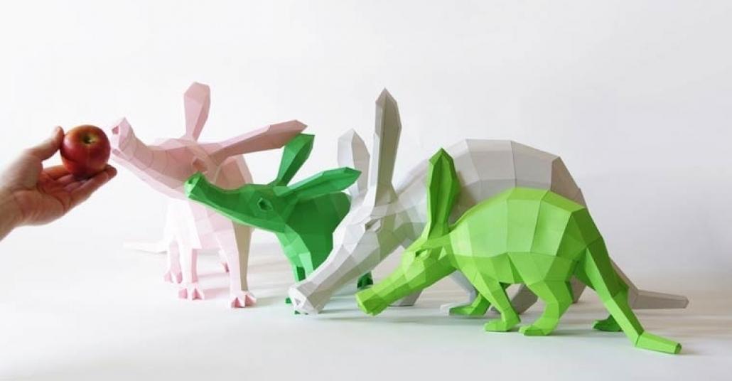 Kağıttan Yapılmış Geometrik Hayvan Heykelleri