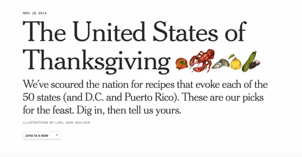 The New York Times'ın Eyalet Eyalet Şükran Günü Tarifleri