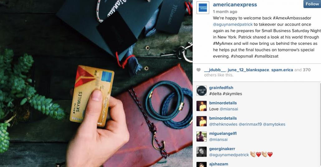 American Express Instagram Hesabını Ödünç Vermiş