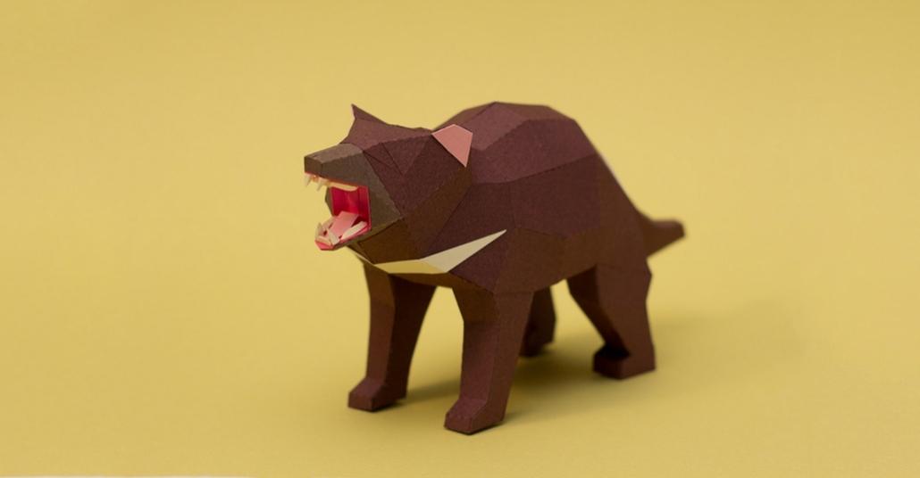 Kağıt Katlayarak Yapılan Poligon Tasarım Hayvan Heykelleri