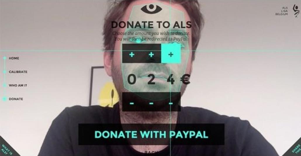 Belçika ALS Vakfı'nın Sadece Göz Hareketlerinizle Bağış Yapabildiğiniz İnternet sitesi