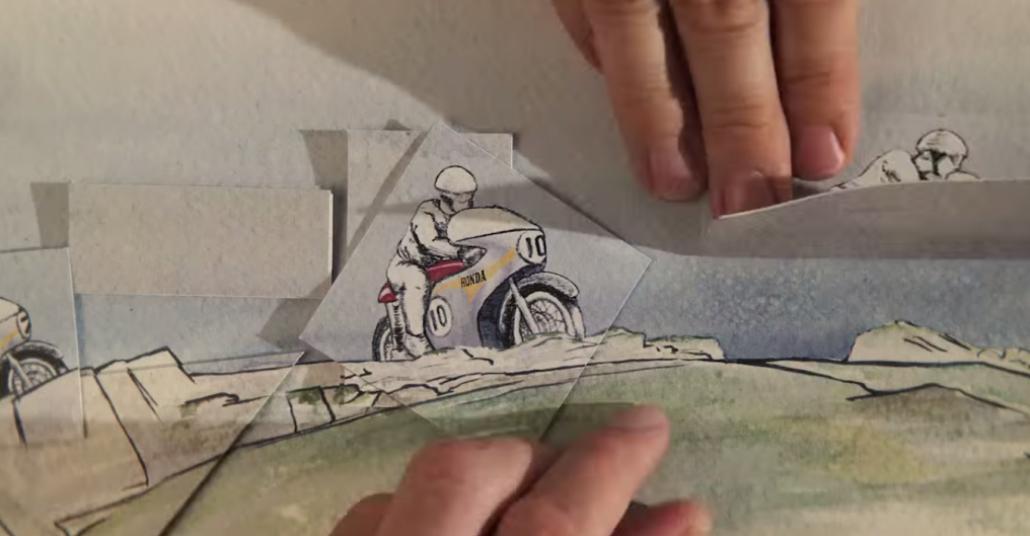 Hondanın 3000 El çizimi Illüstrasyonla Hazırlanan Stop Motion