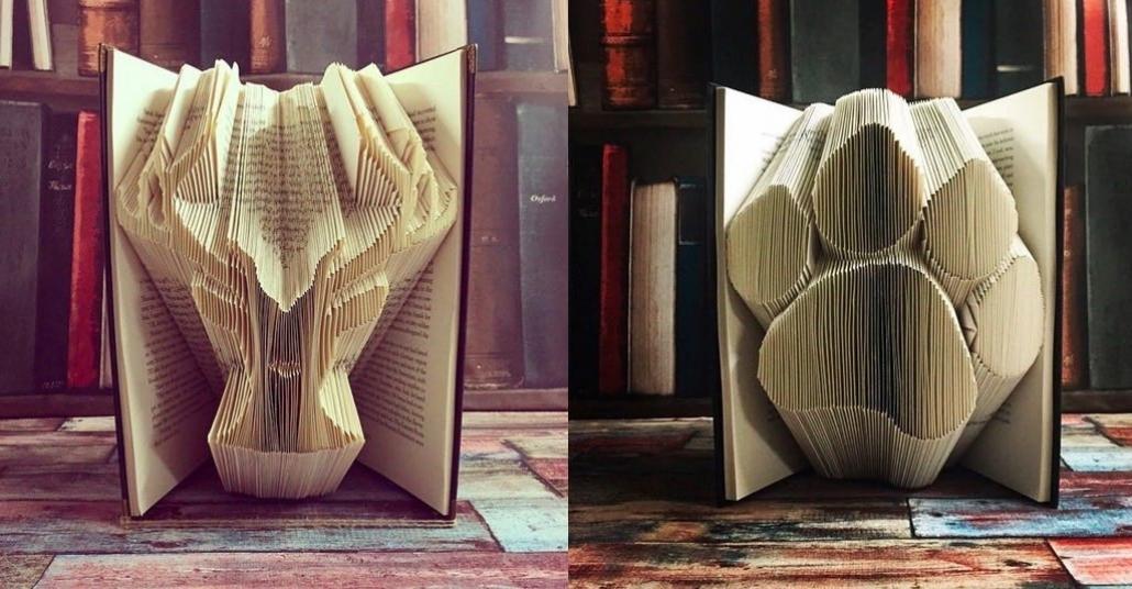 Sayfaları Tek Tek Katlanarak Heykele Dönüşen Kitaplar