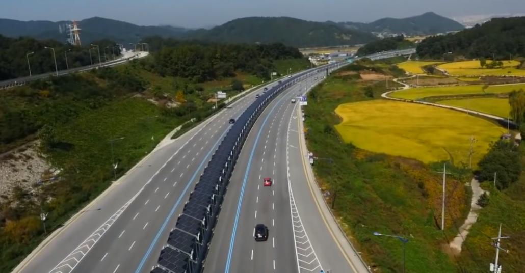 Güney Kore'de Güneş Panelleriyle Döşenmiş Bisikletli Otoyol