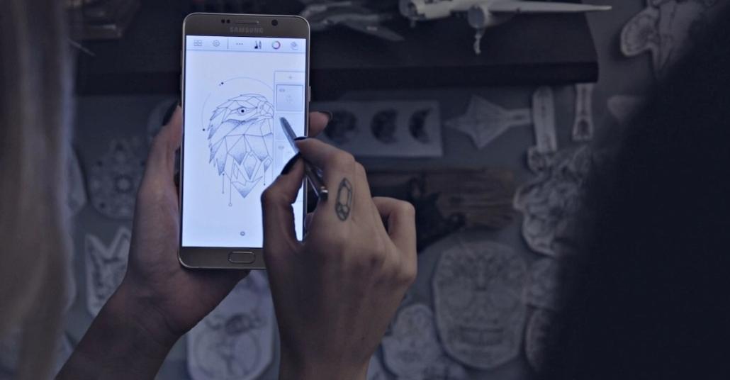 Dövme Sanatçısı Biçem Şinik'in Galaxy Note 5 S Pen ile Tasarladığı Kartal Dövmesi