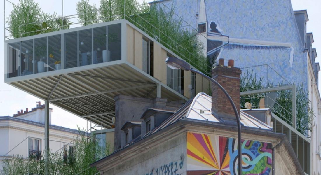 Paris'te Diğer Binalara Tutunan Yeşil Prefabrik Konutlar