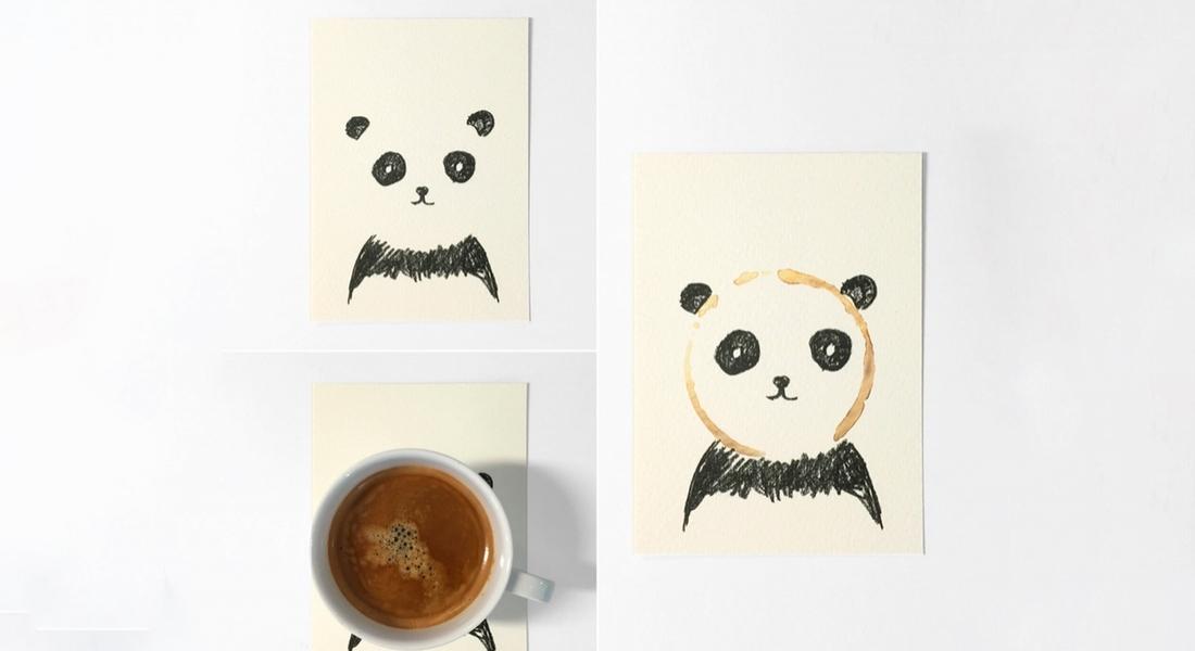 Yalnızca Kahve Lekesiyle Tamamlanan Kartpostallar