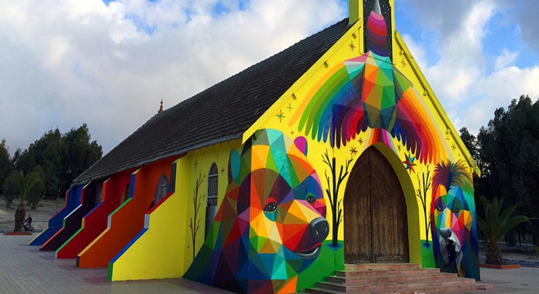 Terk Edilmiş Kilisenin Duvarları Renkli Karakterlerle Canlandı