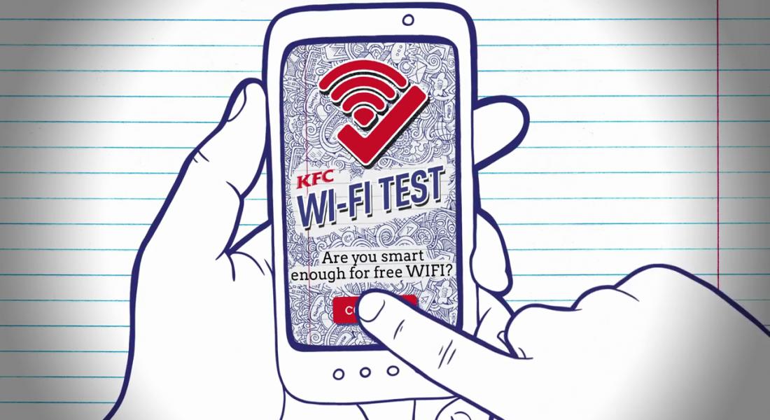 Testi Geç, KFC'nin Ücretsiz Wi-Fi Ağına Bağlan