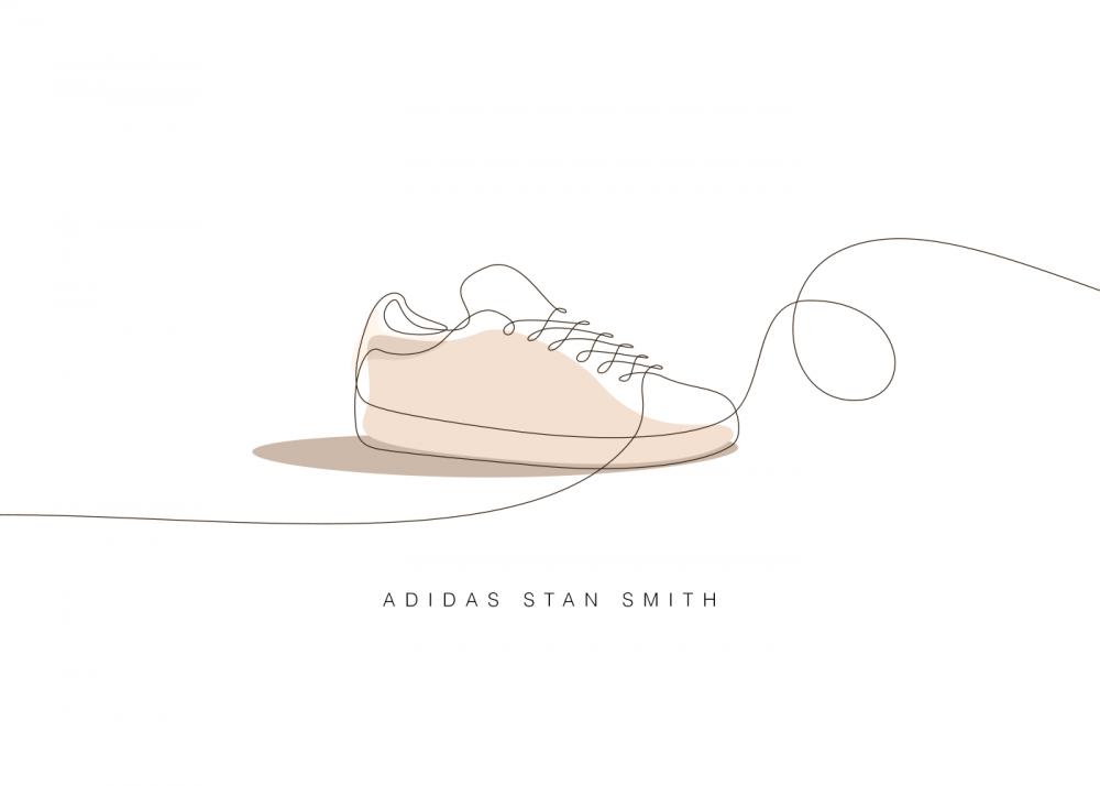 02f47534ef4e5 ... popüler spor ayakkabıları diyebileceğimiz tasarımlar, tek bir çizgiyle  canlanmış. Air Jordan, Stan Smith, Air Max, Chuck Taylor, Onitsuka Tiger,  NB 576, ...