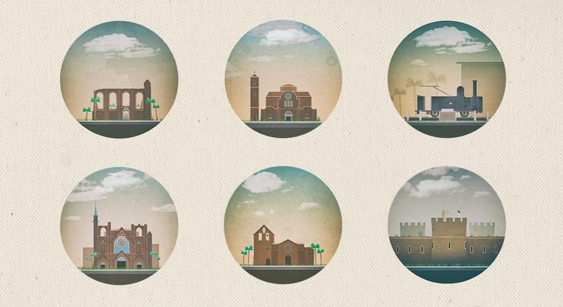 Kıbrıs'ın Tarihi Yerlerinin Minimalist Posterleri