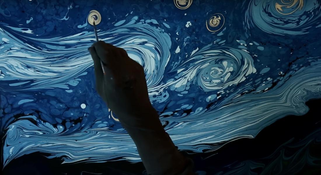 Van Gogh'un Ebru Sanatıyla Yeniden Yaratılan Yıldızlı Gece Tablosu