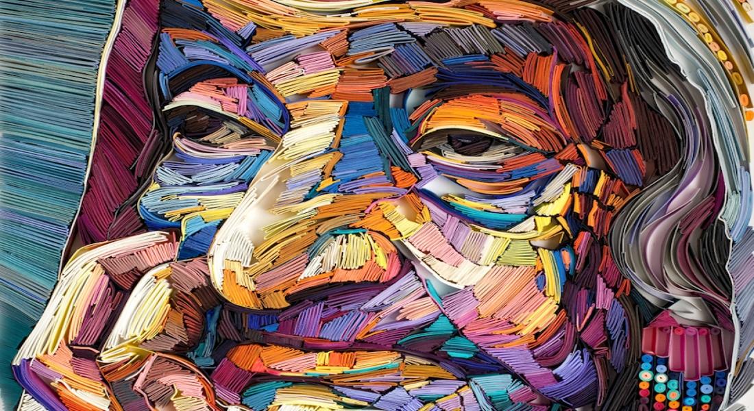 Yaşlılığın Güzelliğini Yan Yana Dizilmiş Renkli Kağıtlarla Anlatan Portreler