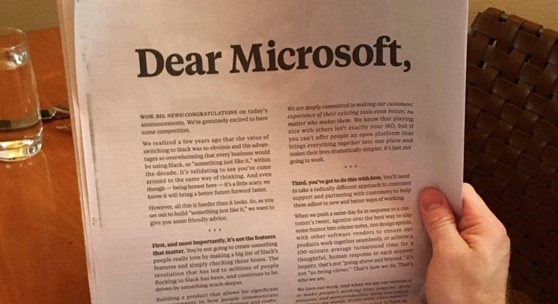 Slack'ten Yeni Rakibi Microsoft Teams'e Tam Sayfa Açık Mektup