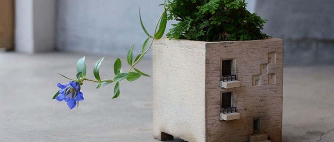 Minyatür Bina Şeklindeki Saksılar