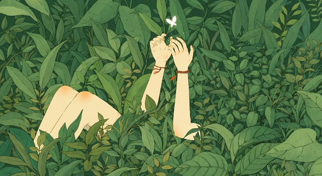 Doğa ile İletişim Kuran İnsanları Konu Alan İllüstrasyonlar