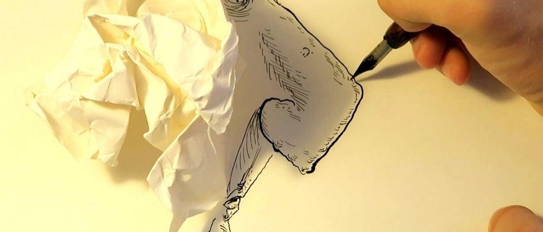 Buruşturulmuş Kağıtların Gölgesiyle Çizilen Portreler