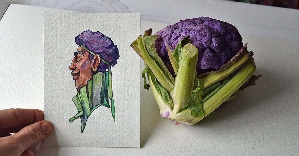 Meyve ve Sebzelerden Sulu Boya Karakterlere