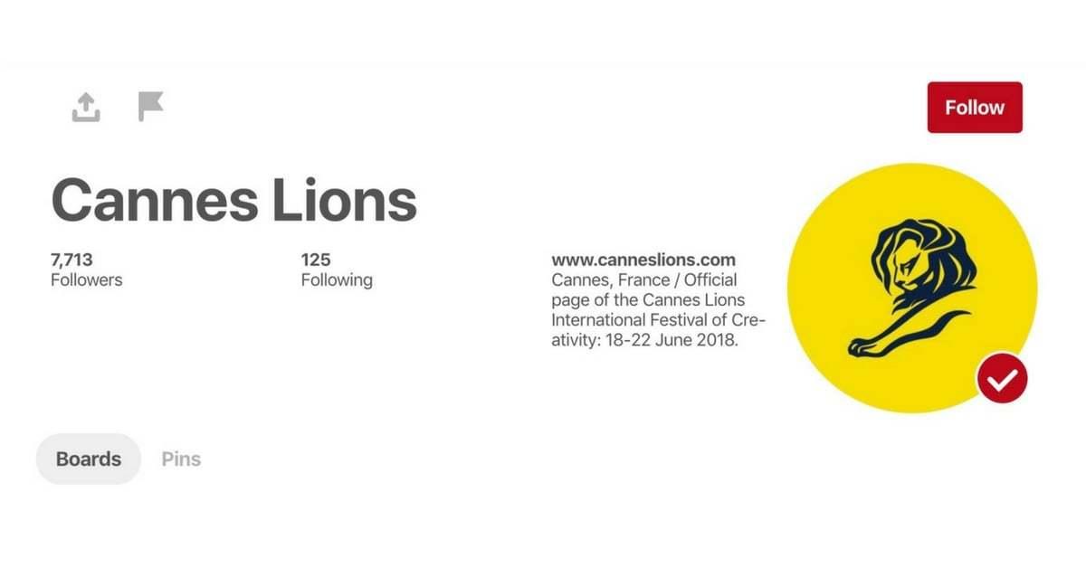 Cannes Lions, Arşivini Pinterest'te Açtı!