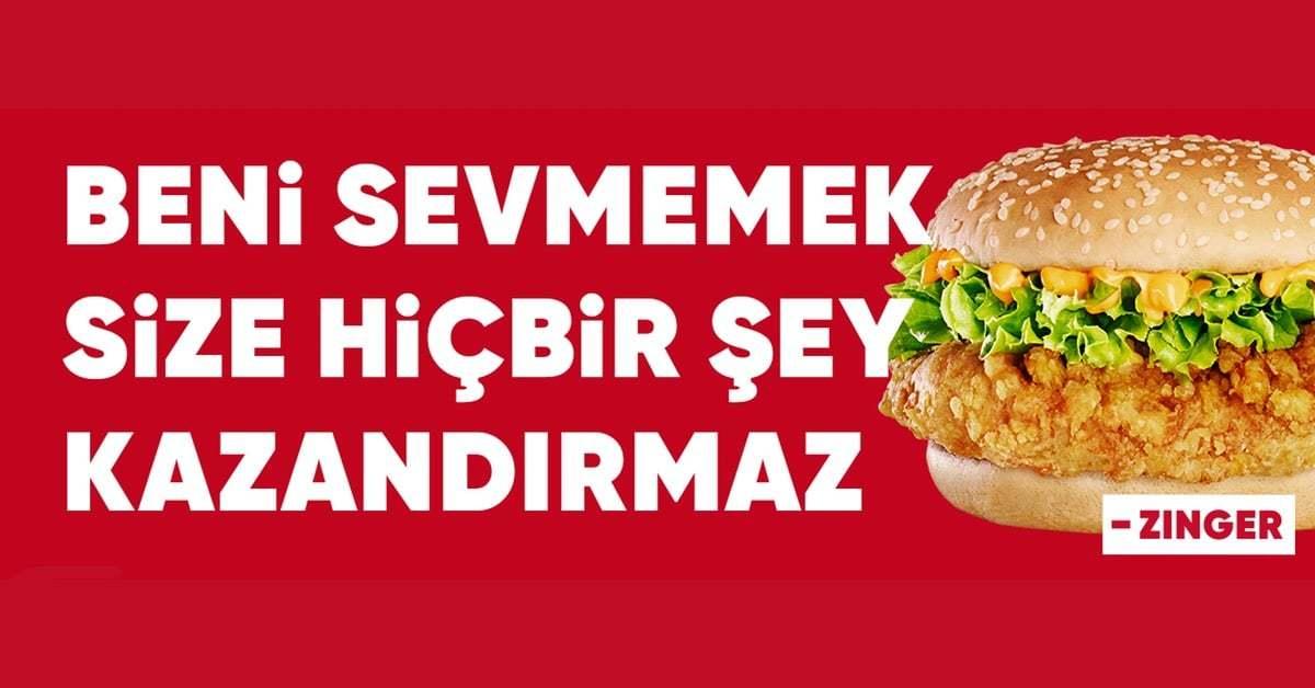Tribine Banılan Burger KFC Zinger Burger