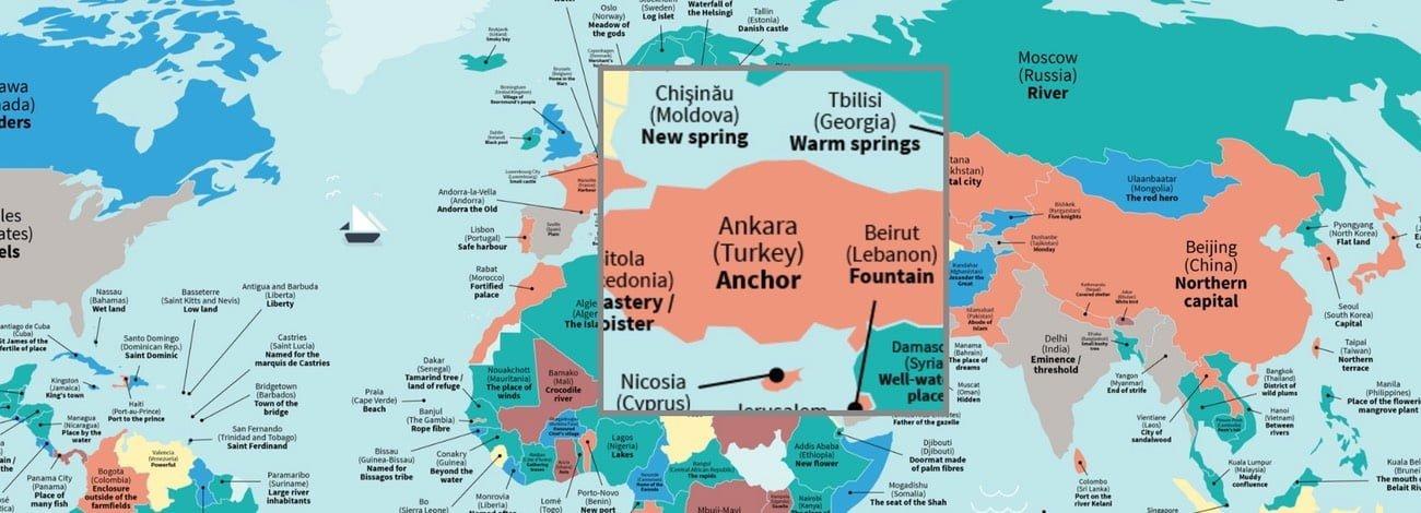 Şehirlerin Sözlük Anlamını Gösteren Harita