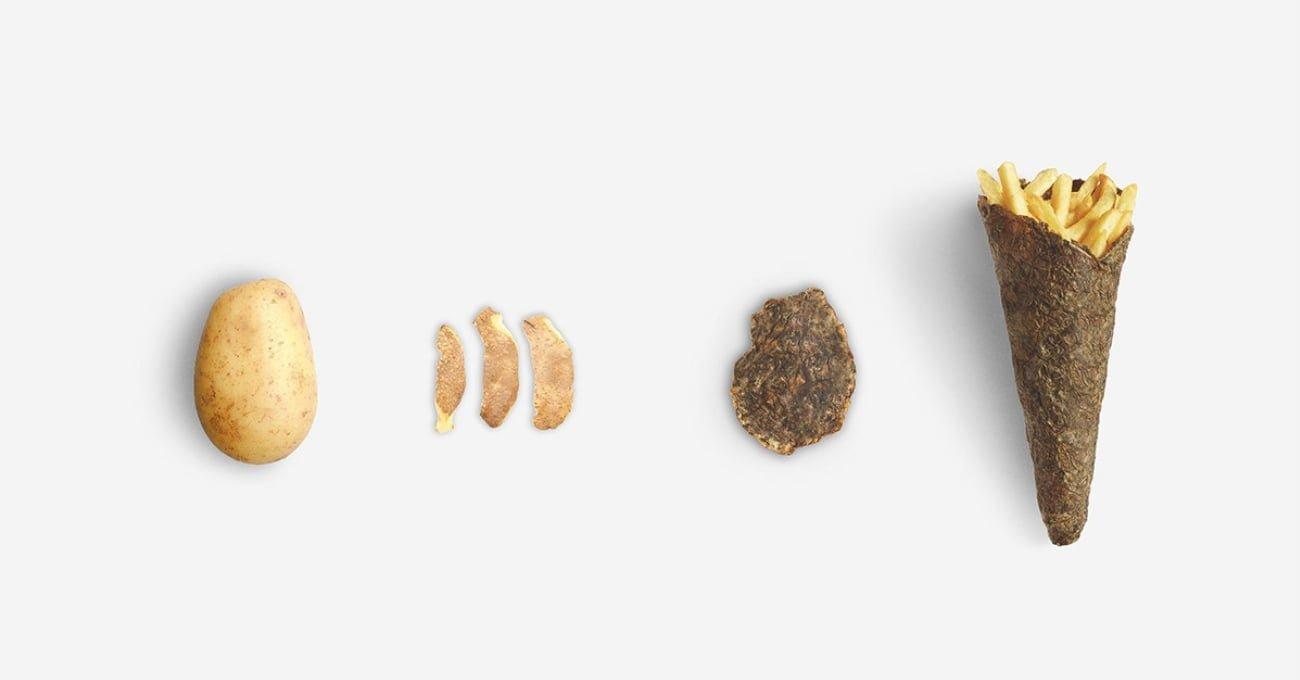 Patates Kızartması İçin Patates Kabuğundan Ambalaj