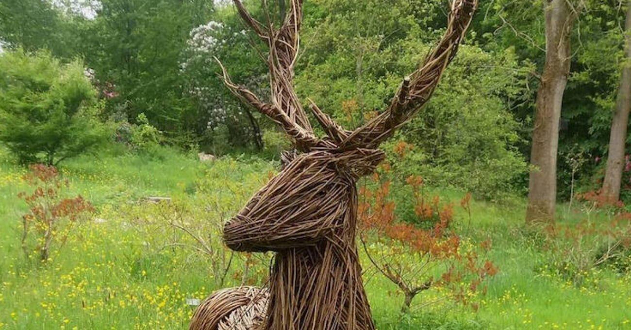 Ormanın İçinde Söğüt Dallarından Örülü Heykeller