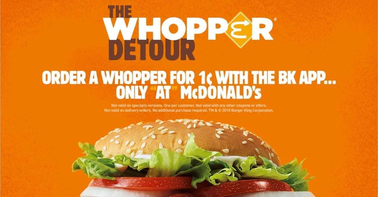 Whopper Detour için 1 Milyon Kişi Burger King Uygulamasını İndirdi