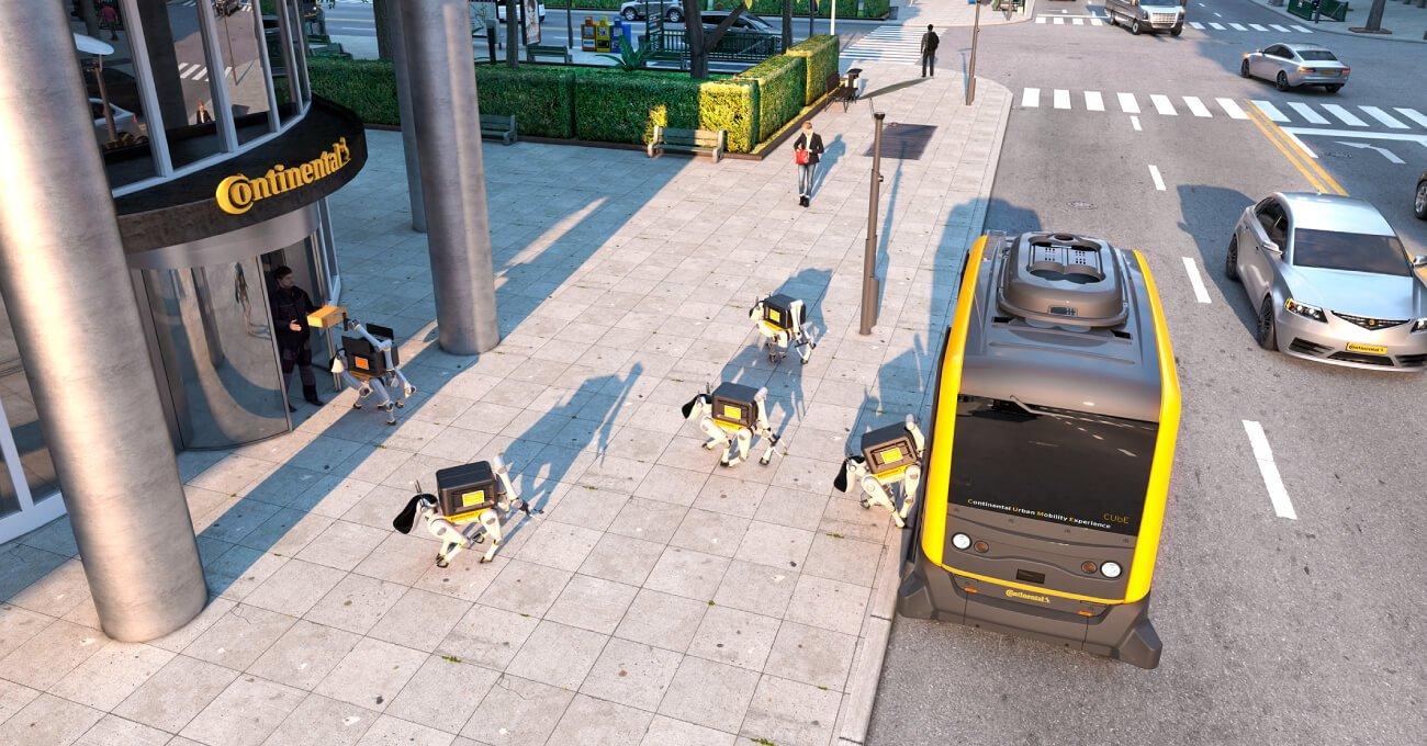 Continental'ın Otonom Araçlardan Fırlayan Robot Köpeklerle Teslimat Konsepti