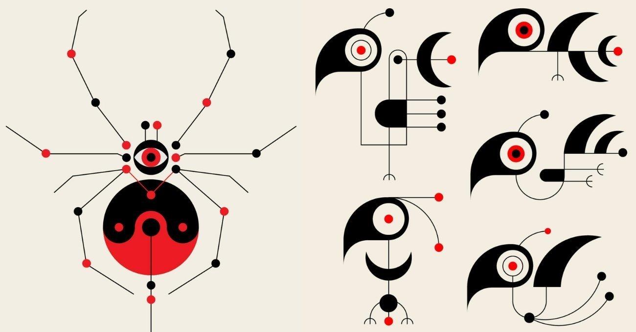 Usta Sanatçılardan Etkiler Taşıyan Geometrik İllüstrasyonlar