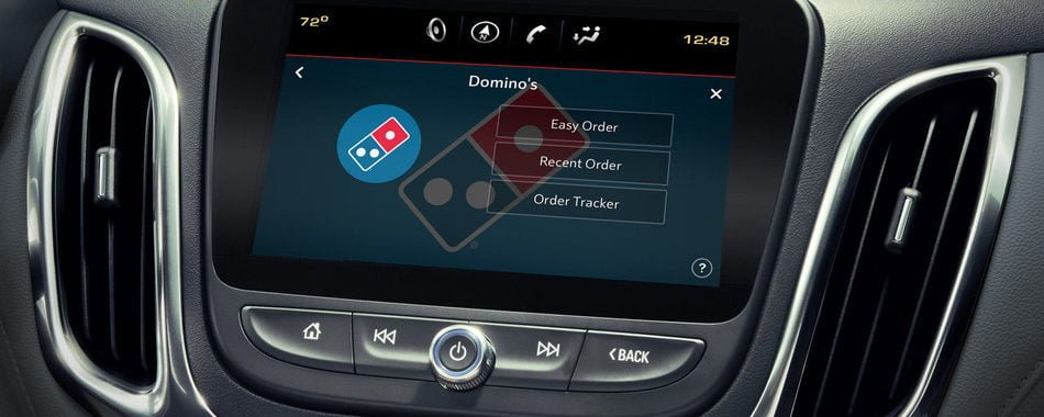 Otomobilin Dokunmatik Ekranından Pizza siparişi