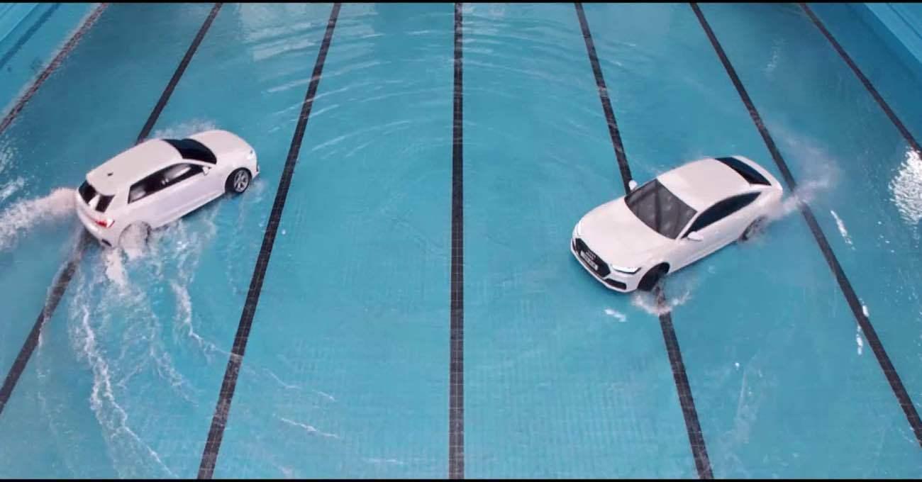 Audi A1 ve A7 ile Havuzda Dans Gösterisi