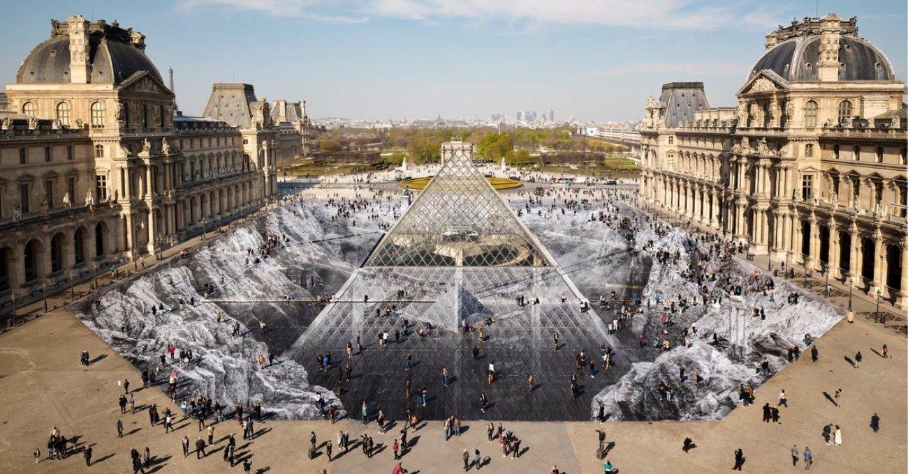 JR'dan Louvre Piramidi'ni Çevreleyen Dev Optik Yanılsama
