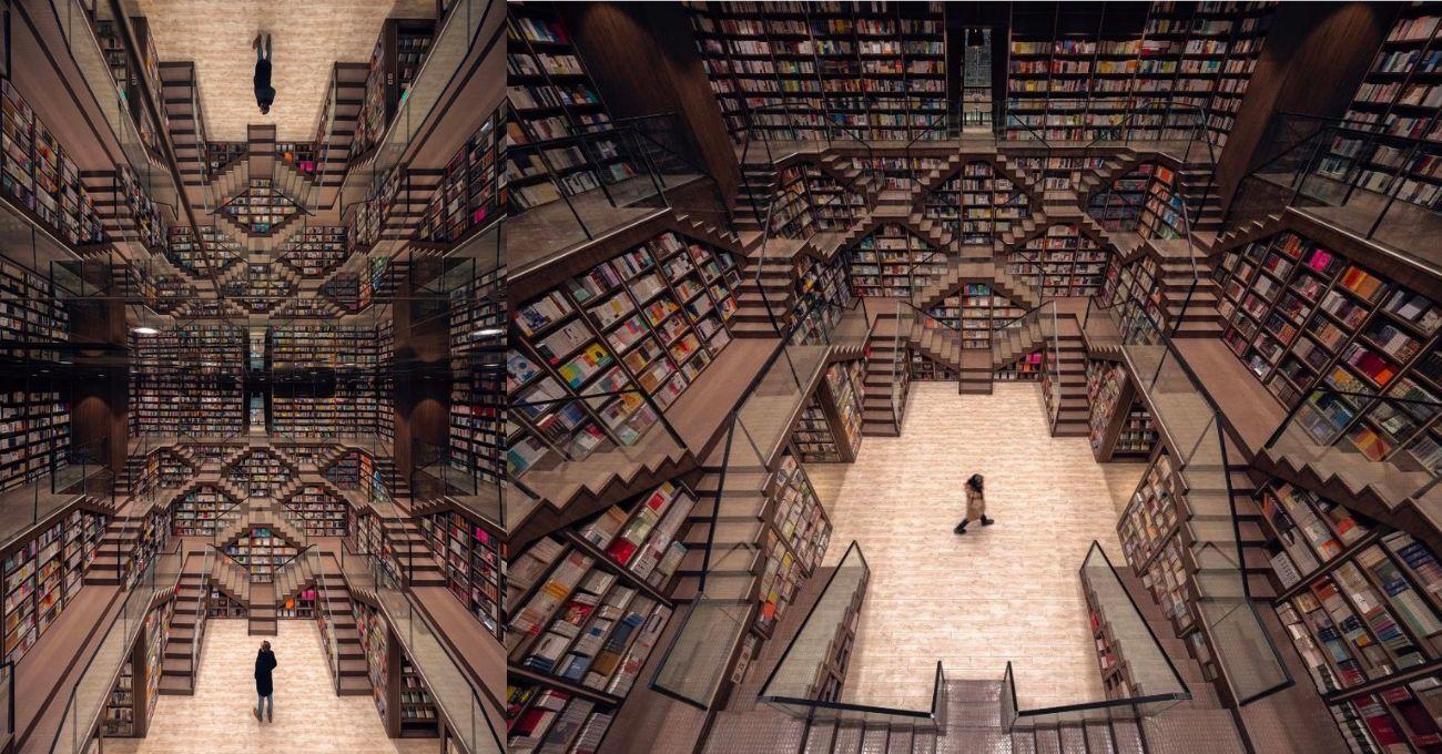 Escher Çizimlerinin İçindeymiş Gibi Hissettiren Kitabevi