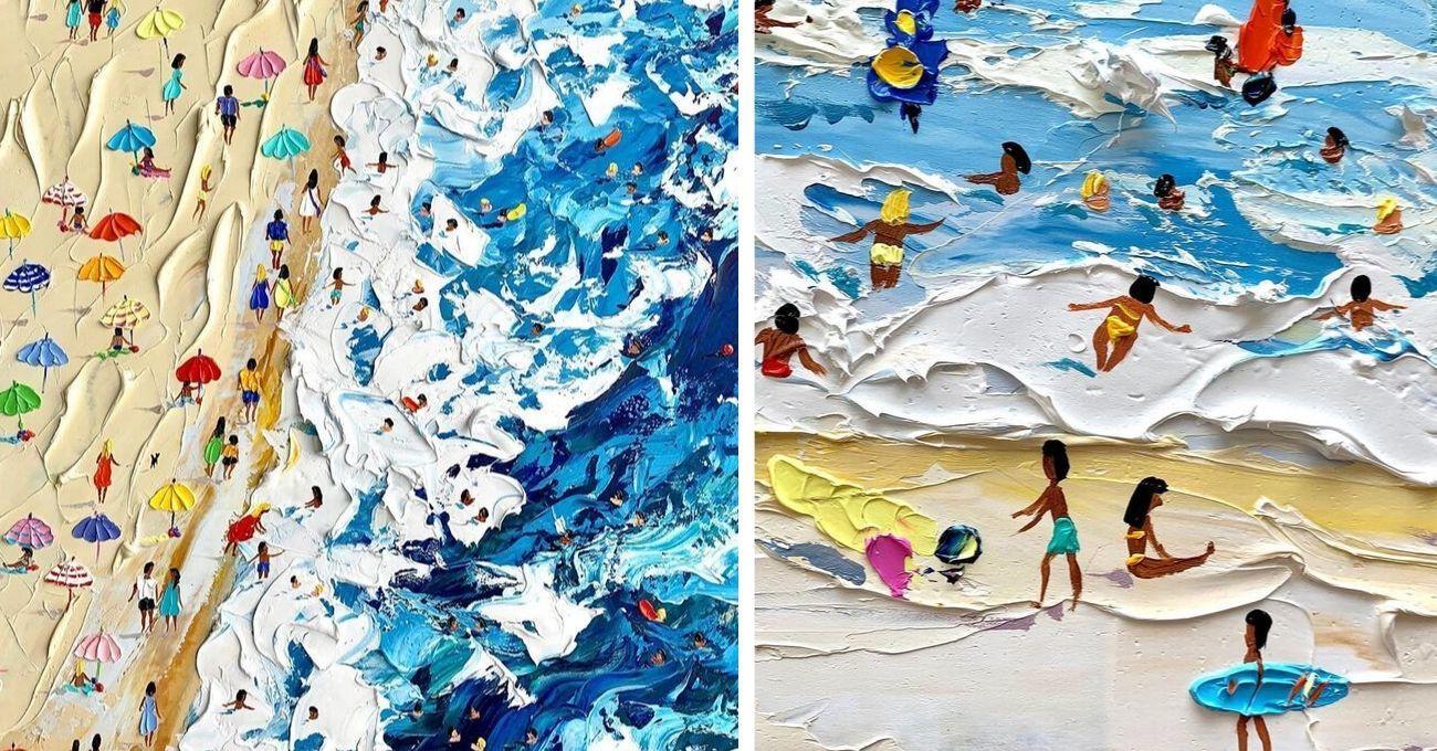 Yağlı Boya Katmanlarıyla Tasvir Edilen Plaj Sahneleri