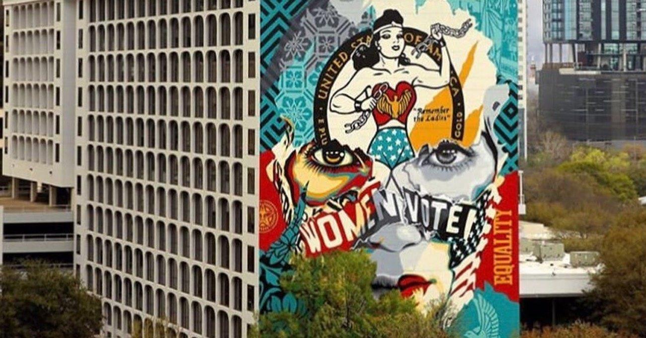 OBEY ve Sandra Chevrier'den Austin'in Merkezine Devasa Mural