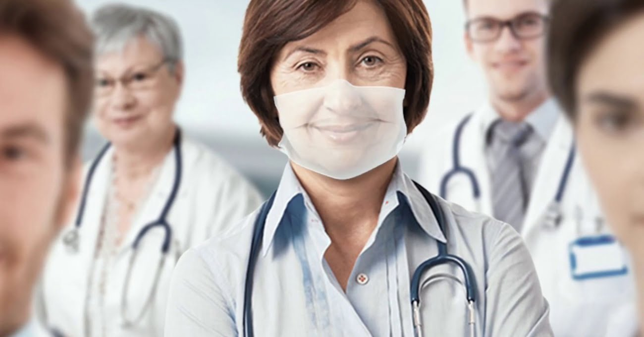 Ağız Çevresini Gösteren Şeffaf Cerrahi Maske