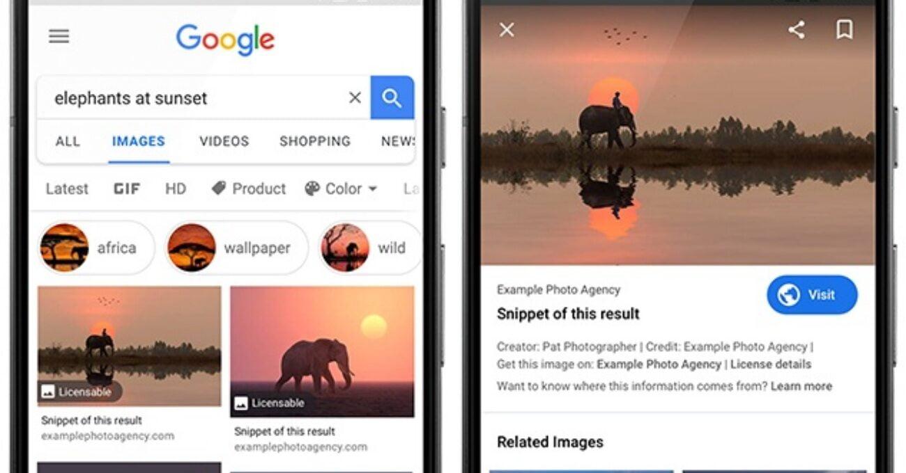Google Görseller'e Lisanslanabilir Rozeti