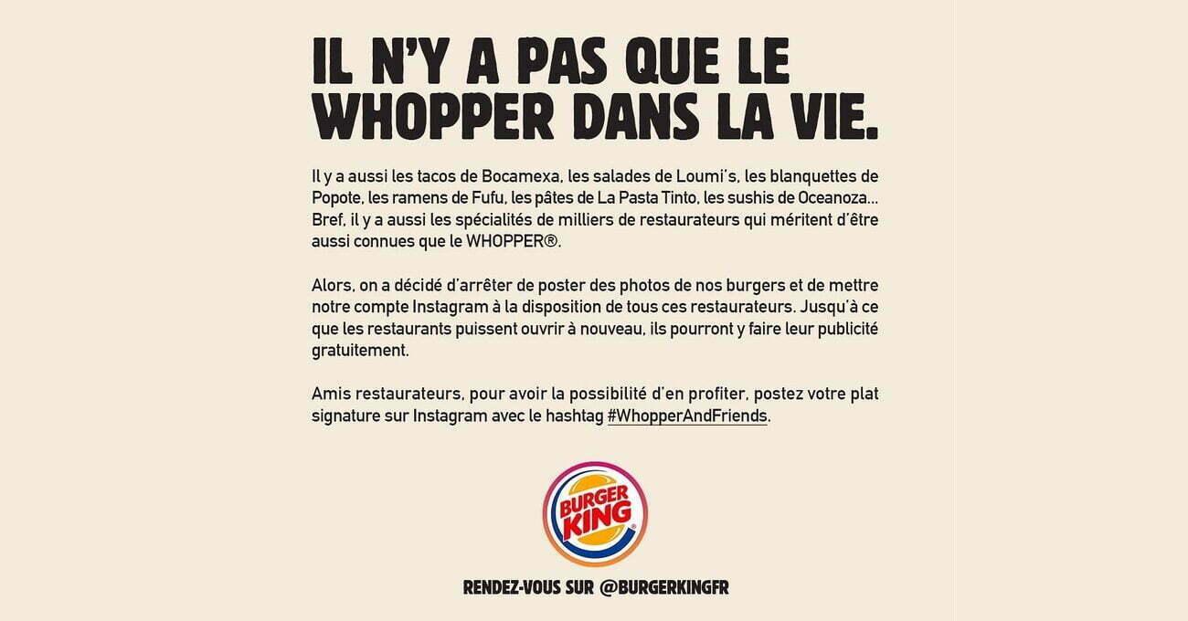 Burger King Instagram Hesabını Küçük İşletmelere Açtı