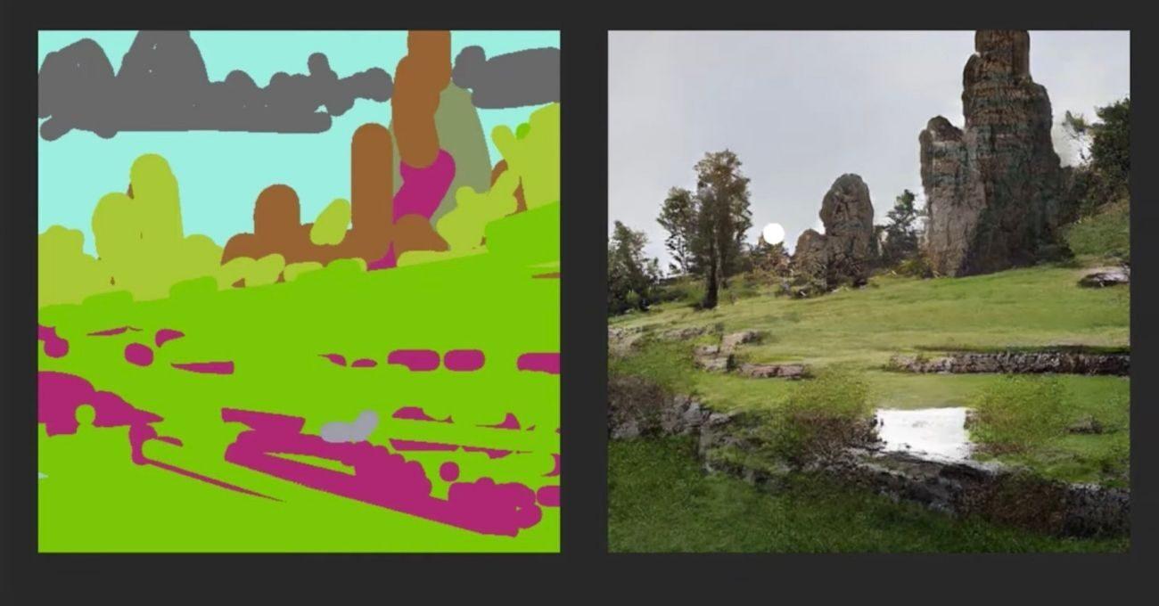 NVIDIA Canvas Manzara Eskizini Fotoğrafa Dönüştürüyor