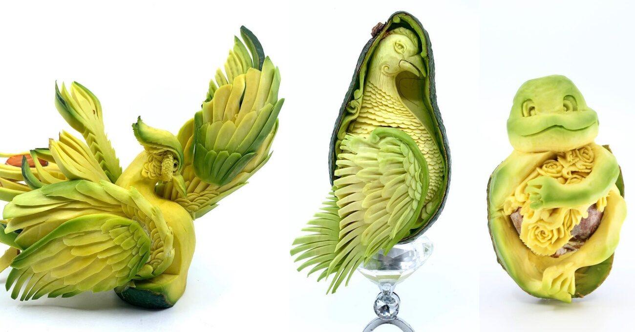 Birer Sanat Eserine Dönüşen Oyulmuş Avokadolar